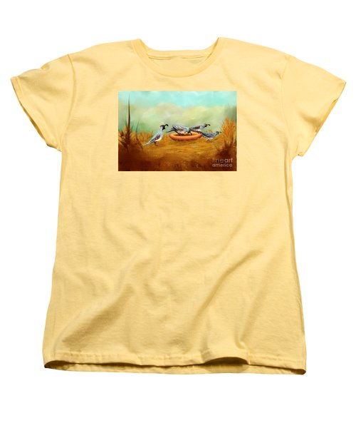 Women's T-Shirt (Standard Cut) featuring the painting Gambel's Quail On Parade by Judy Filarecki