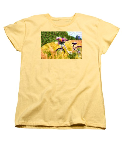 Garden Bicycle Print Women's T-Shirt (Standard Cut) by Tina LeCour