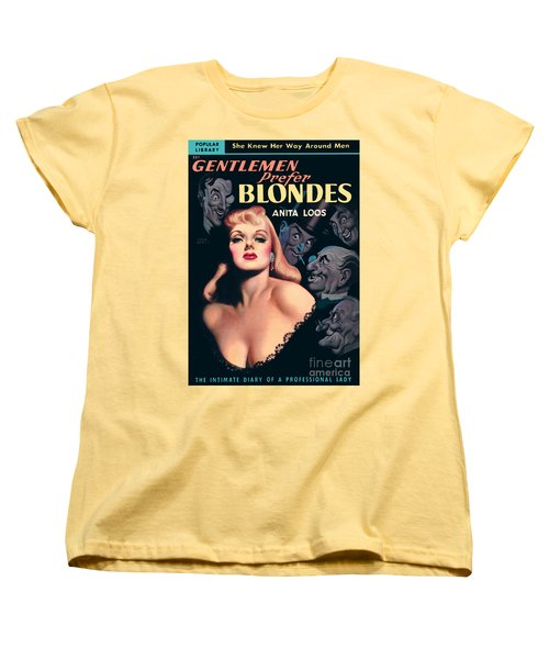 Women's T-Shirt (Standard Cut) featuring the painting Gentlemen Prefer Blondes by Earle Bergey