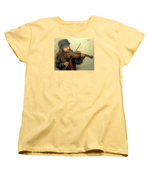 Girl And Her Violin Women's T-Shirt (Standard Cut) by Natalia Tejera