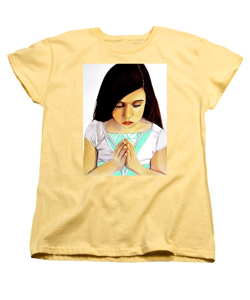 Women's T-Shirt (Standard Cut) featuring the drawing Girl Praying Drawing Portrait By Saribelle by Saribelle Rodriguez