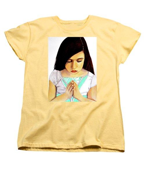 Girl Praying Drawing Portrait By Saribelle Women's T-Shirt (Standard Cut) by Saribelle Rodriguez