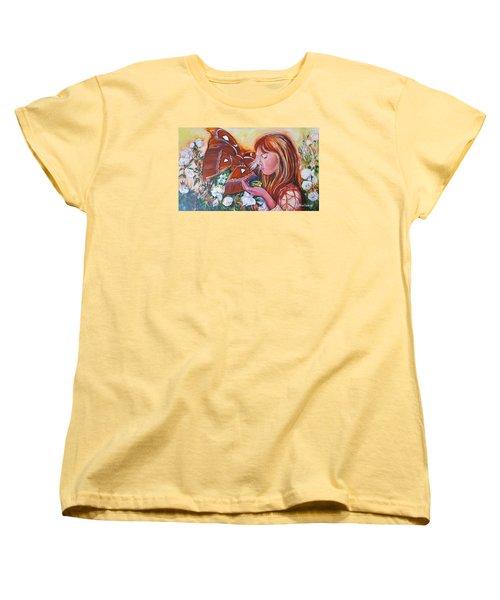 Girl With Butterflies Women's T-Shirt (Standard Cut) by Rita Fetisov