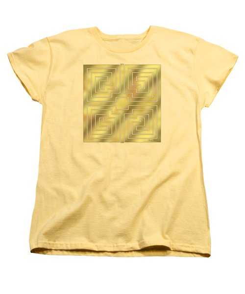 Women's T-Shirt (Standard Cut) featuring the digital art Gold Geo 4 - Chuck Staley Design  by Chuck Staley