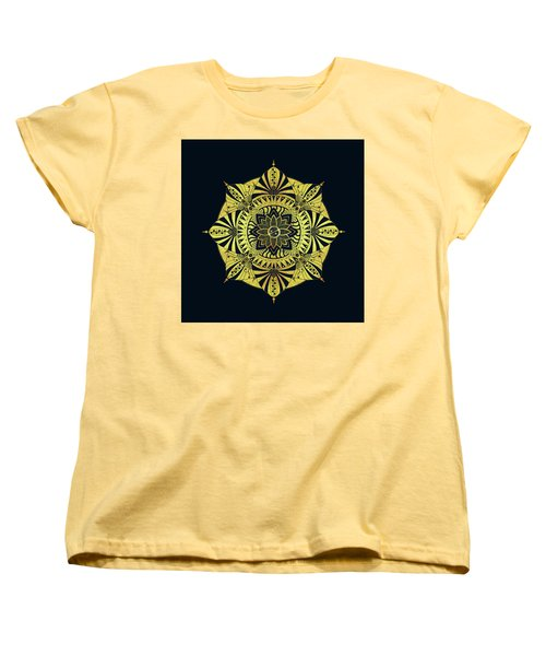 Women's T-Shirt (Standard Cut) featuring the drawing Golden Geometry by Deborah Smith
