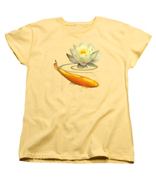 Golden Harmony - Koi Carp With Water Lily Women's T-Shirt (Standard Cut) by Gill Billington