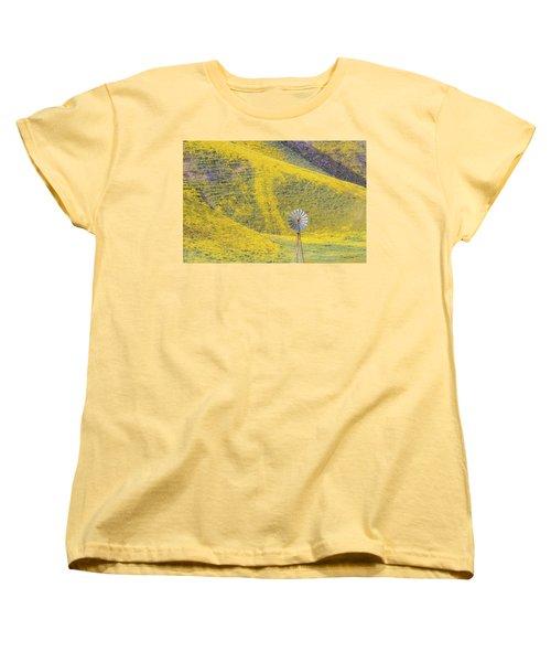 Goldfields And Windmill At Carrizo Plain  Women's T-Shirt (Standard Cut) by Marc Crumpler
