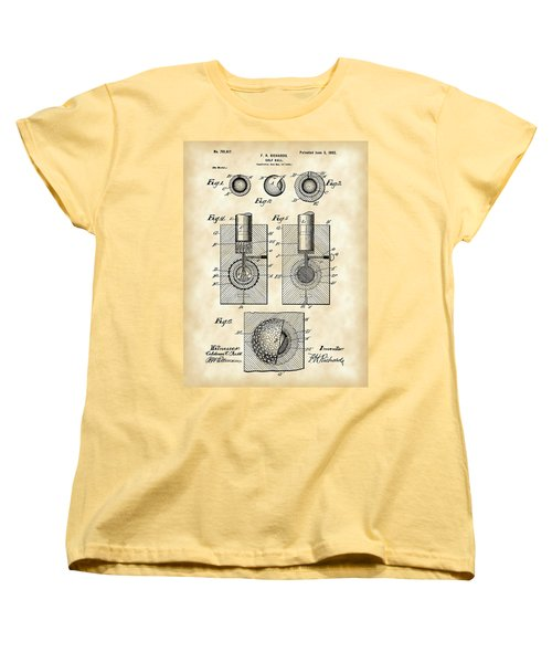 Golf Ball Patent 1902 - Vintage Women's T-Shirt (Standard Cut) by Stephen Younts