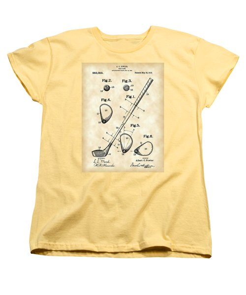 Golf Club Patent 1909 - Vintage Women's T-Shirt (Standard Cut) by Stephen Younts