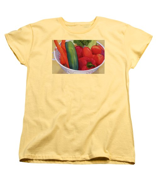 Women's T-Shirt (Standard Cut) featuring the painting Good Eats by Judy Mercer