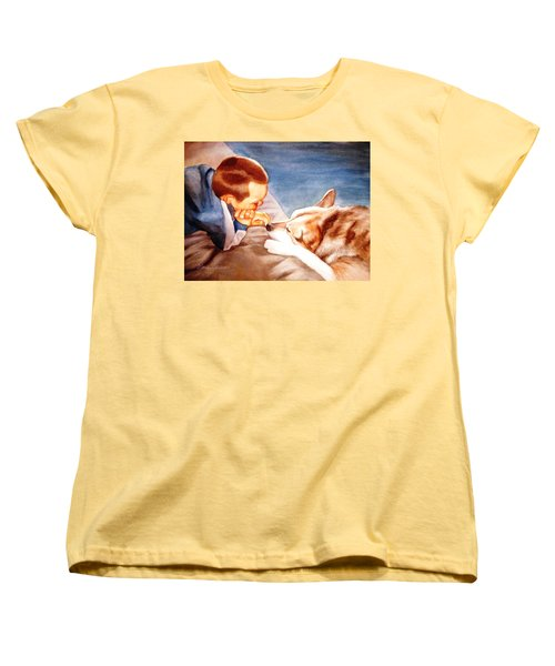 Women's T-Shirt (Standard Cut) featuring the painting Goodbye Misty by Marilyn Jacobson