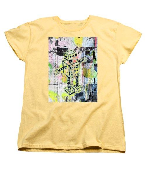 Graffiti Graphic Robot Women's T-Shirt (Standard Cut) by Roseanne Jones