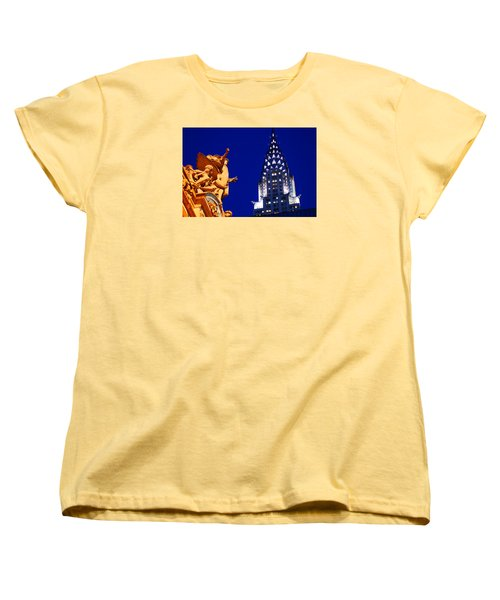 Grand Central Station And Chrysler Building Women's T-Shirt (Standard Cut) by James Kirkikis