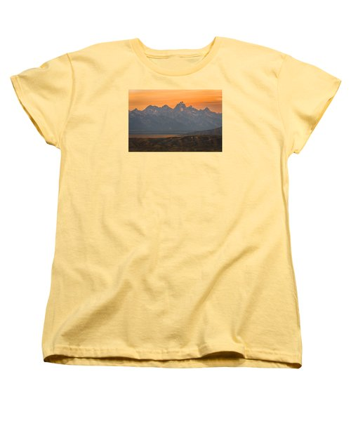 Grand Teton Sunset Women's T-Shirt (Standard Cut) by Serge Skiba