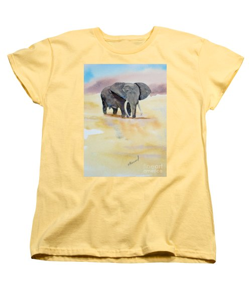 Women's T-Shirt (Standard Cut) featuring the painting Great African Elephant  by Vicki  Housel