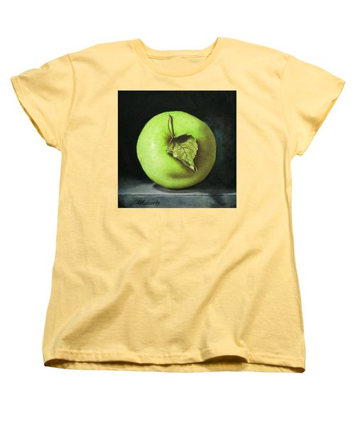 Green Apple With Leaf Women's T-Shirt (Standard Cut) by Marna Edwards Flavell