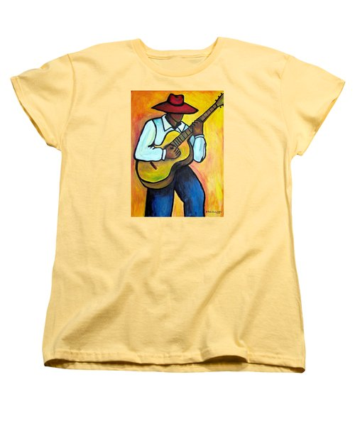 Women's T-Shirt (Standard Cut) featuring the painting Guitar Man by Diane Britton Dunham