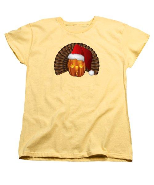 Hallowgivingmas Santa Turkey Pumpkin Women's T-Shirt (Standard Cut) by MM Anderson