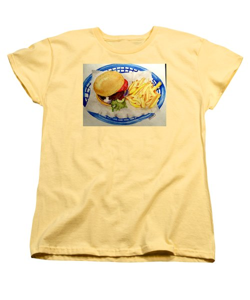 Women's T-Shirt (Standard Cut) featuring the painting Hamburger Basket #2 by Carol Grimes