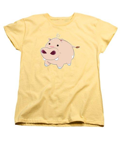 Happy Cartoon Baby Hippo Women's T-Shirt (Standard Cut) by Catifornia Shop