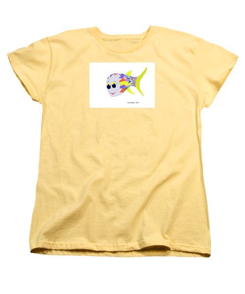 Happy Fish Touring Women's T-Shirt (Standard Cut) by Fred Jinkins