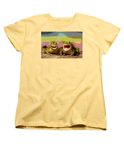 Women's T-Shirt (Standard Cut) featuring the mixed media Happy Frog by Charles Shoup