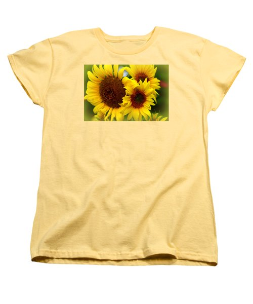 Women's T-Shirt (Standard Cut) featuring the photograph Happy Sunflowers by Kay Novy