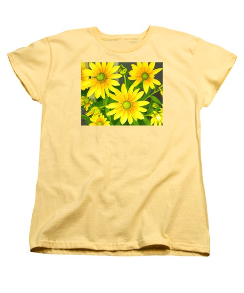 Happy Yellow Summer Cone Flowers In The Garden Women's T-Shirt (Standard Cut)