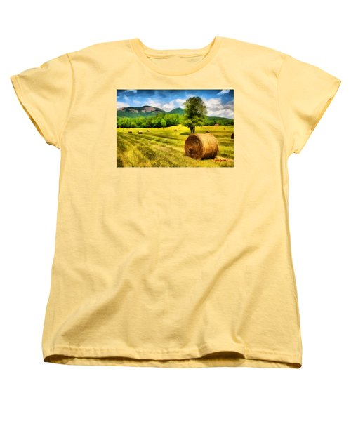 Women's T-Shirt (Standard Cut) featuring the painting Harvest At Table Rock by Lynne Jenkins
