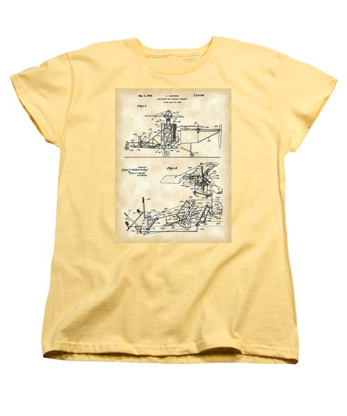 Helicopter Patent 1940 - Vintage Women's T-Shirt (Standard Cut) by Stephen Younts