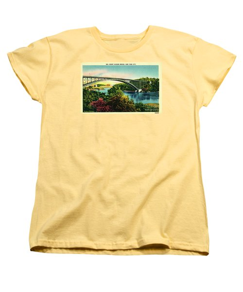 Women's T-Shirt (Standard Cut) featuring the photograph Henry Hudson Bridge Postcard by Cole Thompson
