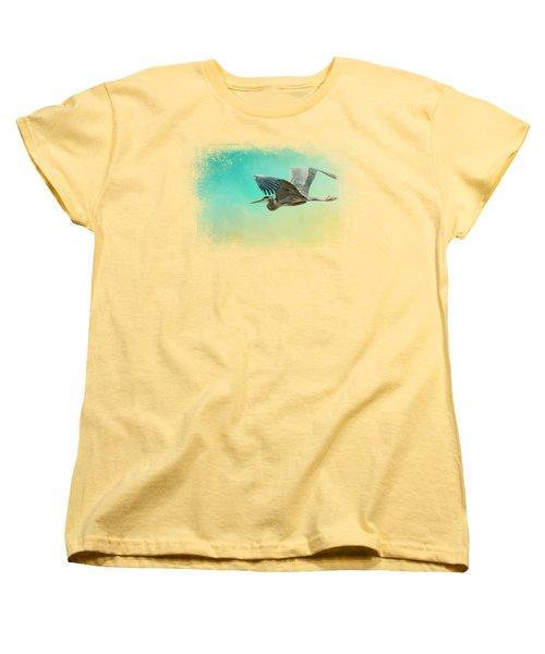 Heron At Sea Women's T-Shirt (Standard Cut) by Jai Johnson