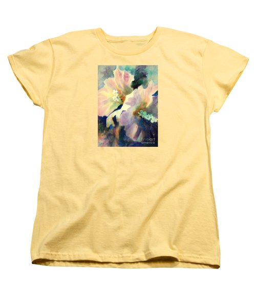 Women's T-Shirt (Standard Cut) featuring the painting Hibicus Up Close by Kathy Braud