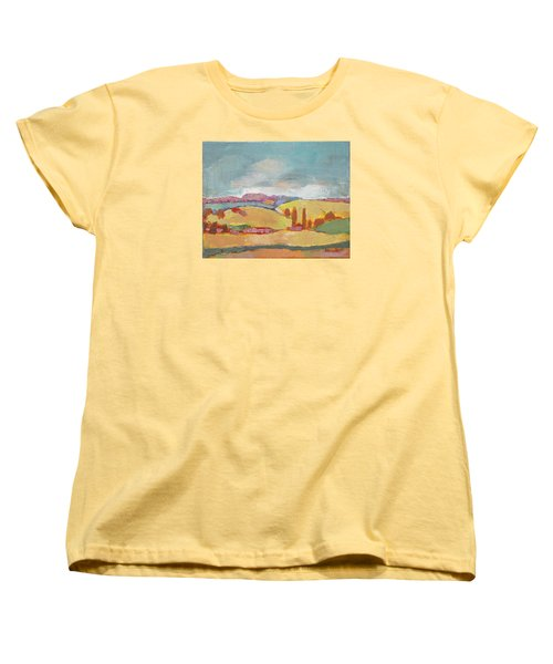 Women's T-Shirt (Standard Cut) featuring the painting Home Land by Becky Kim