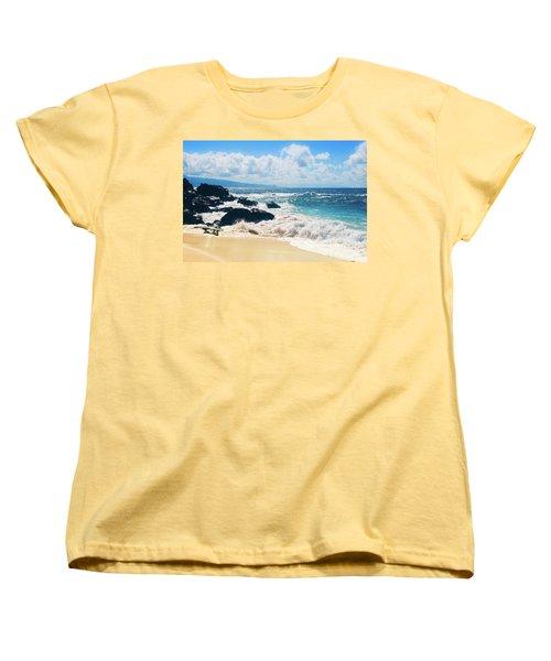 Women's T-Shirt (Standard Cut) featuring the photograph Hookipa Beach Maui Hawaii by Sharon Mau