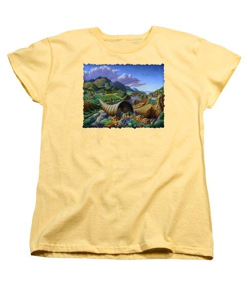 Horn Of Plenty - Cornucopia - Autumn Thanksgiving Harvest Landscape Oil Painting - Food Abundance Women's T-Shirt (Standard Cut) by Walt Curlee
