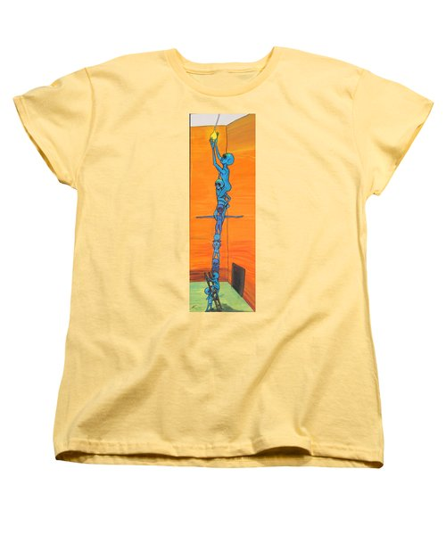 Women's T-Shirt (Standard Cut) featuring the painting How Many Aliens Does It Take To Screw In A Light Bulb?  Seven. by Similar Alien
