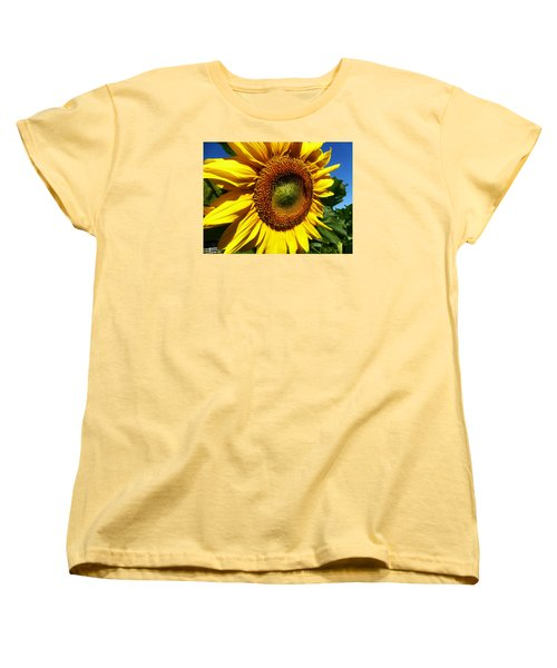 Huge Bright Yellow Sunflower Women's T-Shirt (Standard Cut) by Tina M Wenger