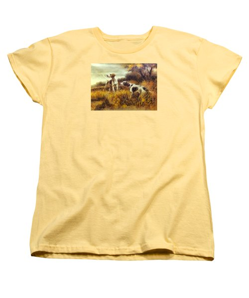 Women's T-Shirt (Standard Cut) featuring the digital art Hunting Dogs No1 by Charmaine Zoe