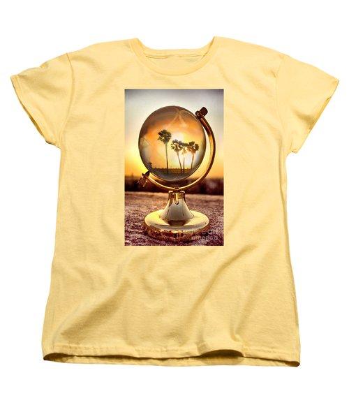 Huntington Beach Globe Women's T-Shirt (Standard Cut) by Natalie Ortiz