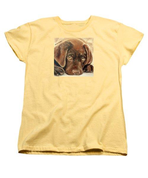 I'm Sorry - Chocolate Lab Puppy Women's T-Shirt (Standard Cut) by Julie Brugh Riffey