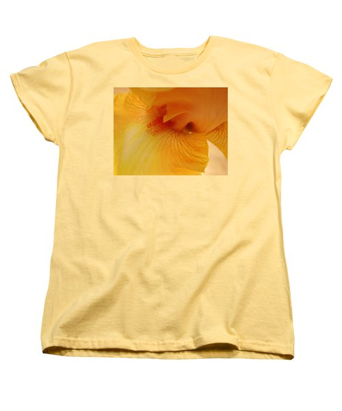 Women's T-Shirt (Standard Cut) featuring the digital art Inner Iris, Yellow, Close-up by Jana Russon