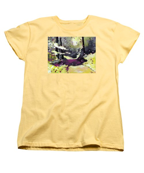 Women's T-Shirt (Standard Cut) featuring the painting Into The Woods 2 by Anil Nene