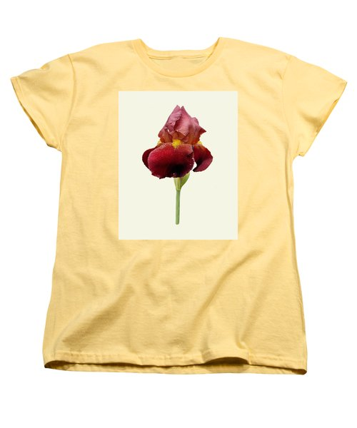 Women's T-Shirt (Standard Cut) featuring the photograph Iris Vitafire Cream Background by Paul Gulliver