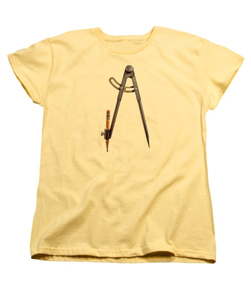 Iron Compass Back Split Color Paper Women's T-Shirt (Standard Fit)