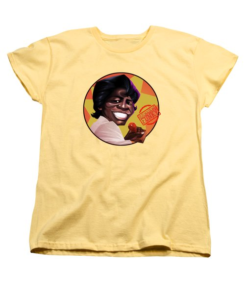 Women's T-Shirt (Standard Cut) featuring the drawing James Brown by Nelson Dedos Garcia