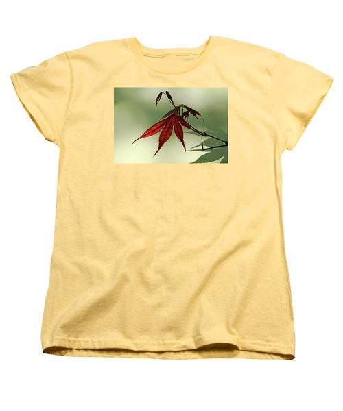 Women's T-Shirt (Standard Cut) featuring the photograph Japanese Maple Leaf by Ann Lauwers