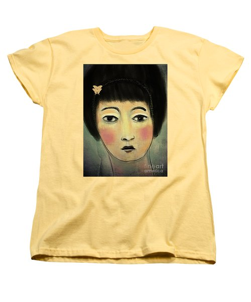 Japanese Woman With Butterflies Women's T-Shirt (Standard Cut) by Alexis Rotella