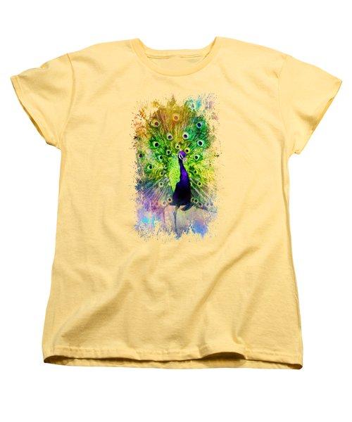 Jazzy Peacock Colorful Bird Art By Jai Johnson Women's T-Shirt (Standard Cut) by Jai Johnson