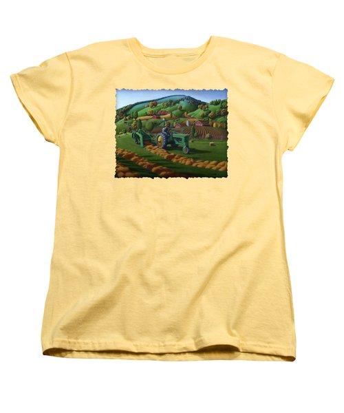 John Deere Tractor Baling Hay Farm Folk Art Landscape - Vintage - Americana Decor -  Painting Women's T-Shirt (Standard Cut) by Walt Curlee